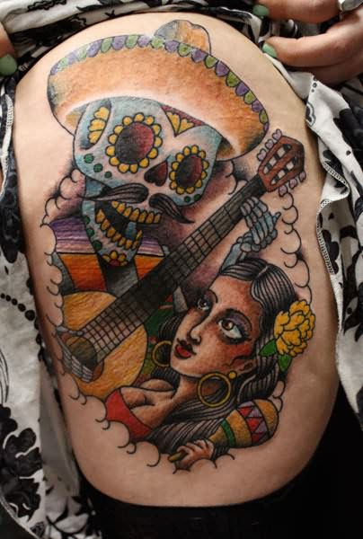 Dia De Los Muertos Suagr Skull Tattoo On Shoulder