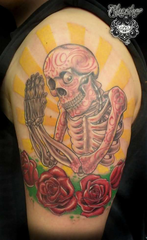 New Style Dia De Los Muertos Skeleton Tattoo