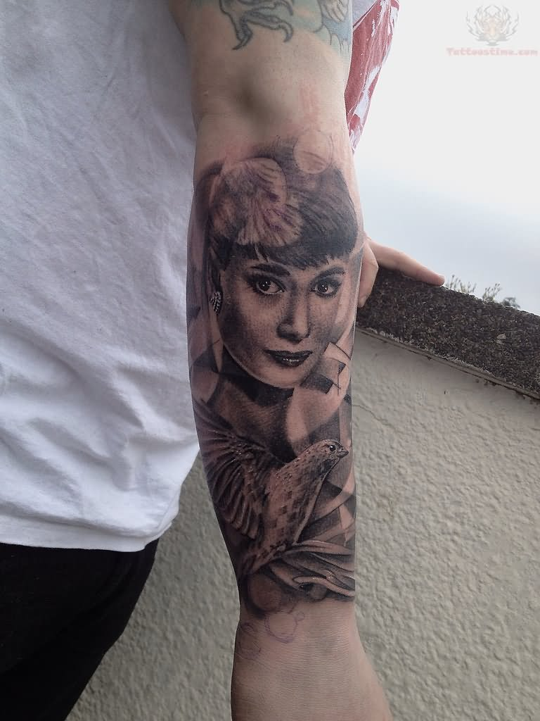 Audrey Hepburn Tattoo On Right Sleeve