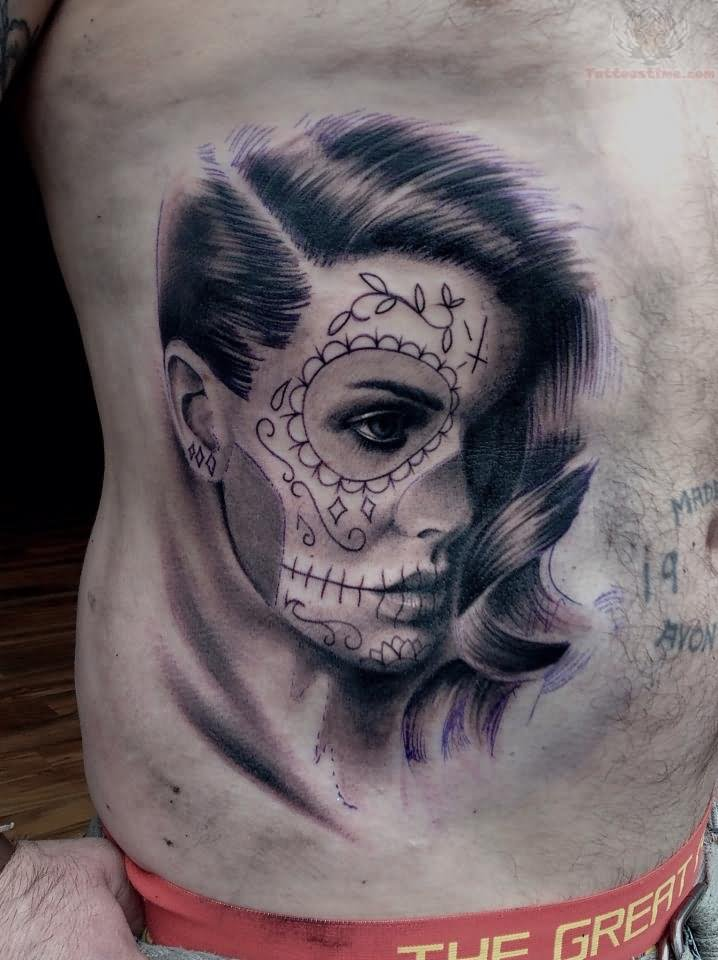 Day The Dead Girl Tattoo Side