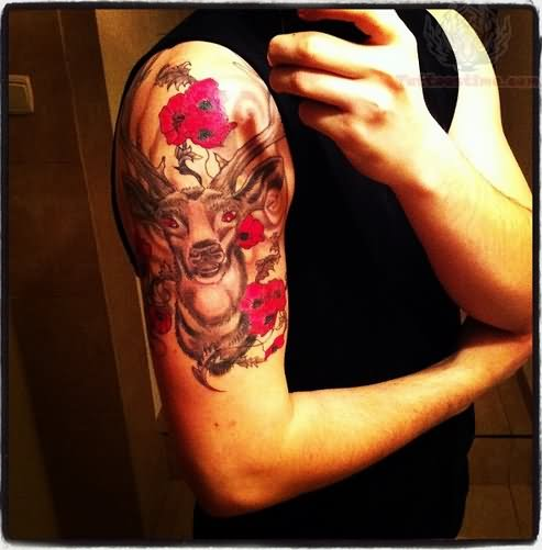 Flowers And Deer Tattoo On Half Sleeve