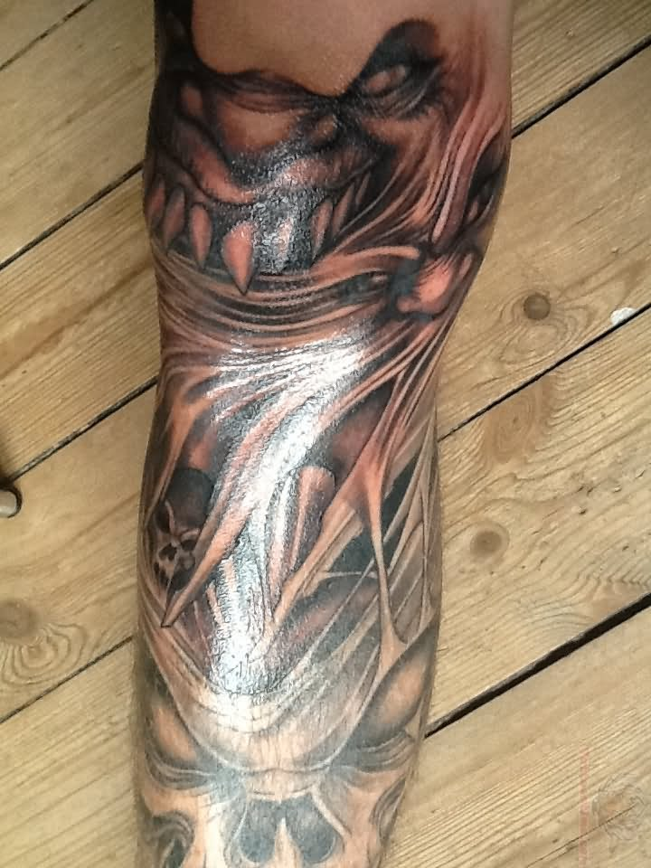 Grey Ink Scary Tattoo