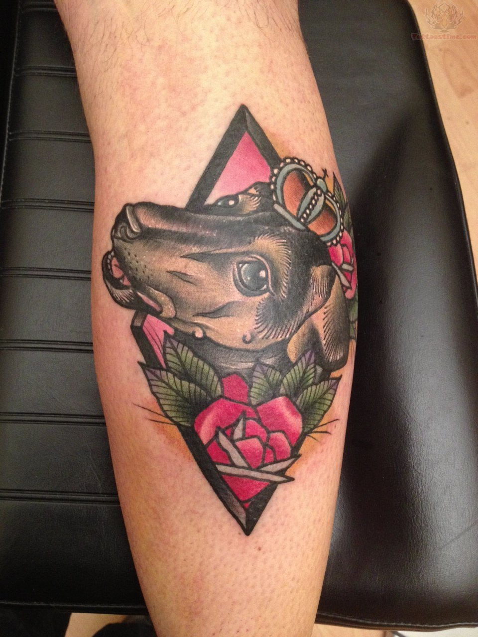 Jack Russel And Flower Tattoo On Knee