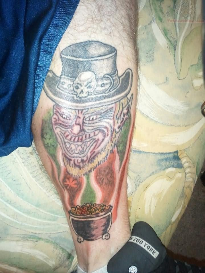 Leprechaun Head Tattoo On Leg