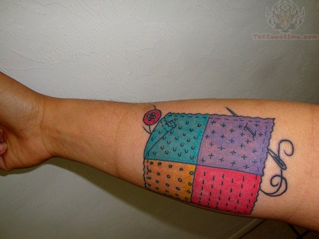 Sewing needle color tattoo for Sewing needle tattoo