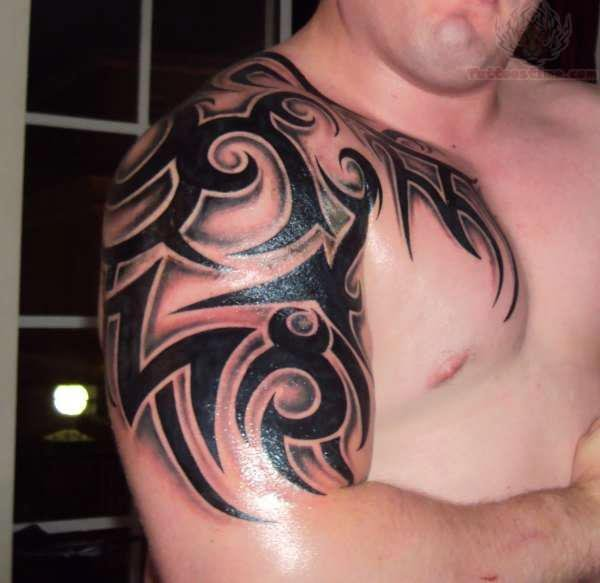 tribal and tattoos arm back Tattoo Awesome Tribal And Sleeve On Half Shoulder