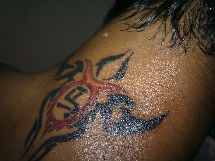 Tribal tattoo on back neck for Tribal tattoos for the back