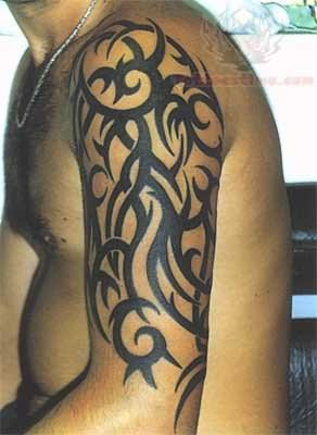 Tribal Tattoo On Half Sleeve for Men