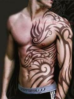 Tribal Tattoo on Men Left Side