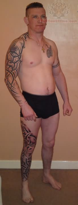 Tribal Leg Sleeve Tattoo