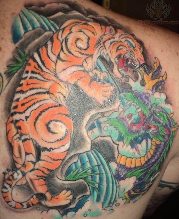 Tiger tattoos on back