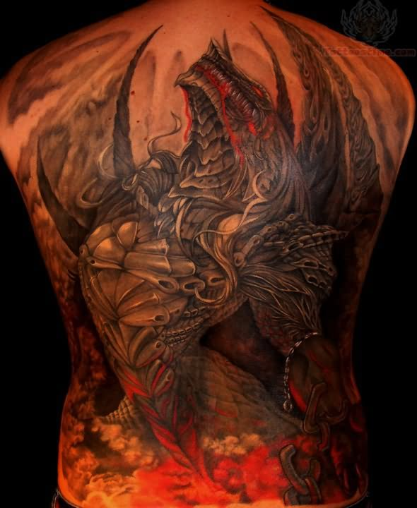 Dragon Color Tattoo On Full Back