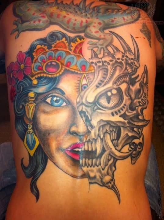 47711d3442888 Aligator And Half Biomechanical Skull And Girl Face Tattoo