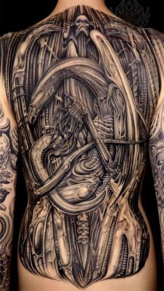 62fa5aaf7 Biomechanical Grey ink Tattoo on Back