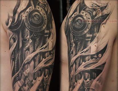 biomechanical tattoo on left half sleeve. Black Bedroom Furniture Sets. Home Design Ideas