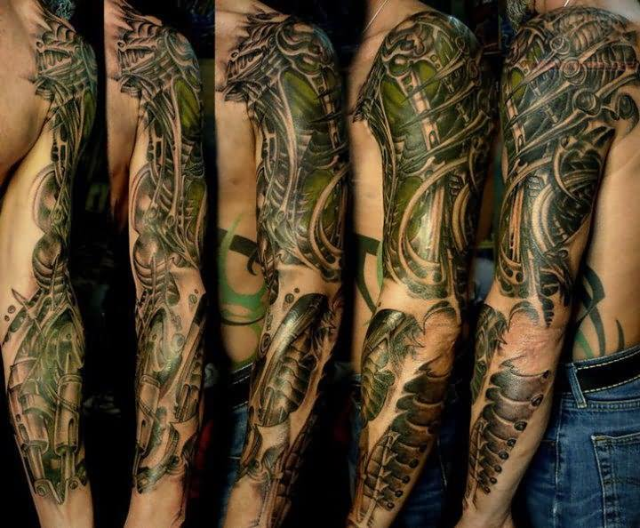 Left Sleeve Biomechanical Tattoo