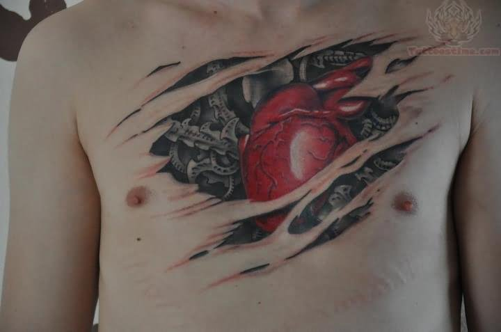rip skin biomechanical heart tattoo. Black Bedroom Furniture Sets. Home Design Ideas