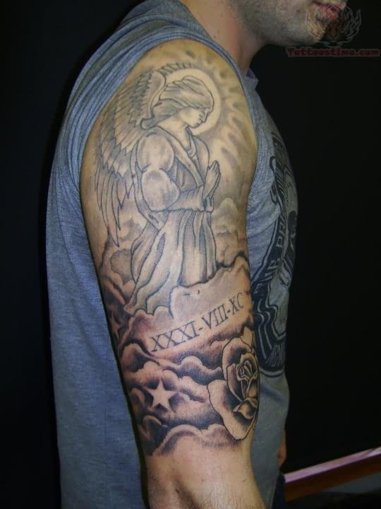 2f61616ae2fe6 Grey Ink Praying Angel Tattoo On Half Sleeve