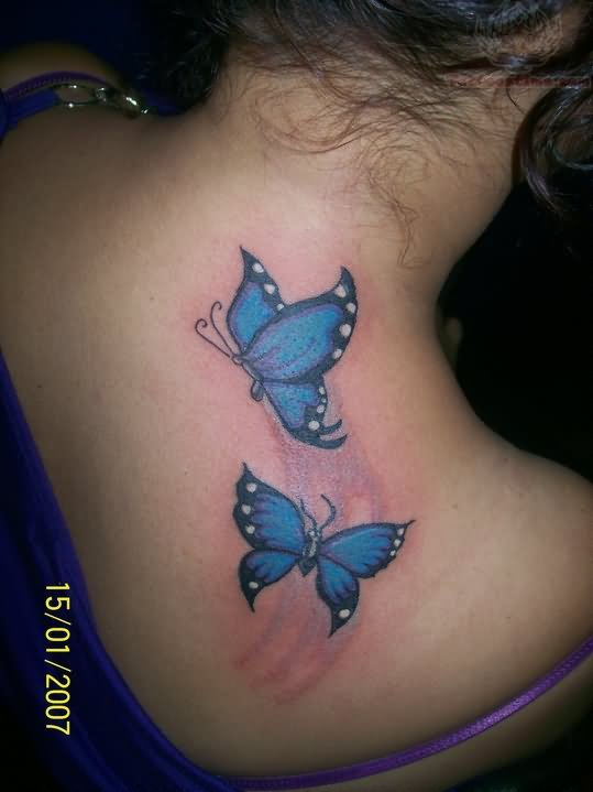 Blue Butterflies Tattoo On Back