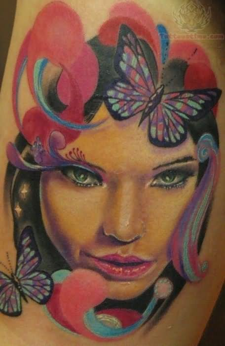 Butterfly and girl head tattoo for Girl head tattoo
