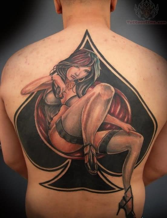 Ace symbol and girl tattoo on back for Girl symbol tattoos