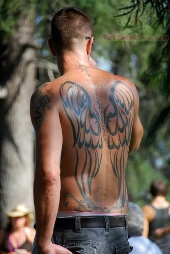 Angel Wings Tattoo On Men Back