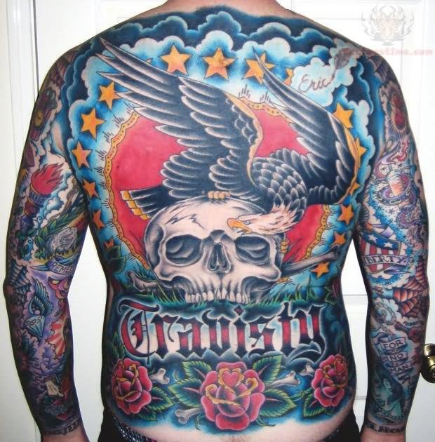 American Traditional Skull And Eagle: Colorful Full Back Skull And Eagle Tattoo