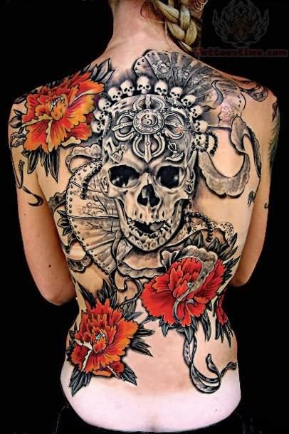 Flowers and skull color tattoo on back for Color skull tattoos