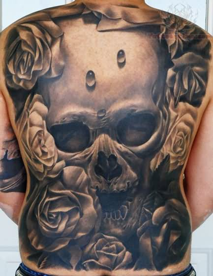 Flowers And Skull Tattoo On Back