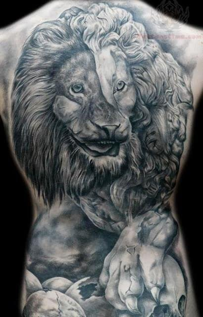 Lion head tattoos on the back - photo#13