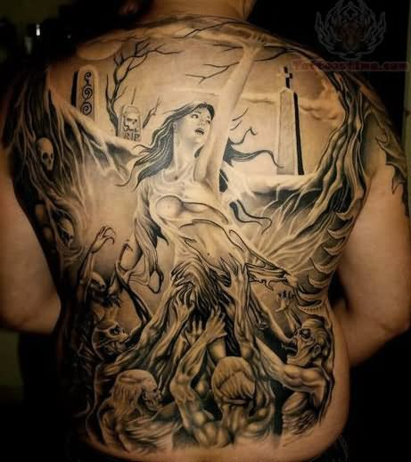 Grey ink Zombie Tattoo On Back