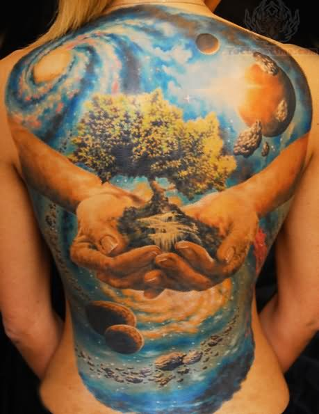 Save Earth Plant Trees Tattoo On Back