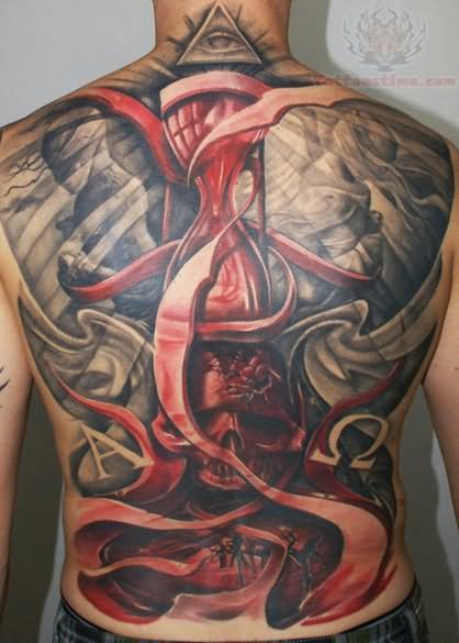 Skull and hourglass scary tattoo on back for Skull hourglass tattoo