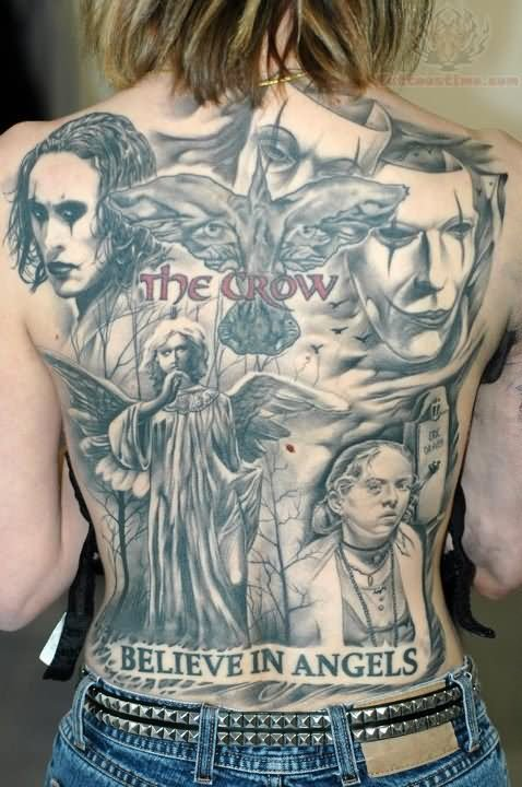 The Crow And Angel Tattoo On Back