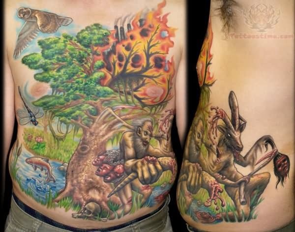 burning tree and early man tattoo. Black Bedroom Furniture Sets. Home Design Ideas