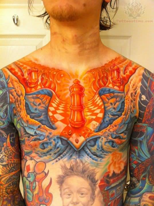 Color ink biomechanical tattoo on chest for Color chest tattoos