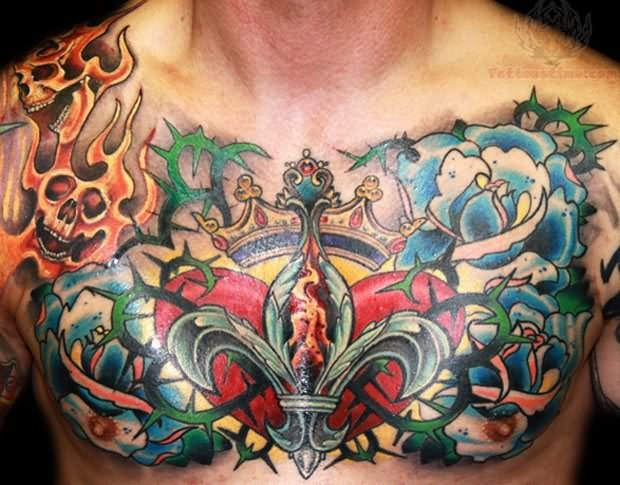 Crown fleur de lis tattoo on chest for Crown chest tattoo
