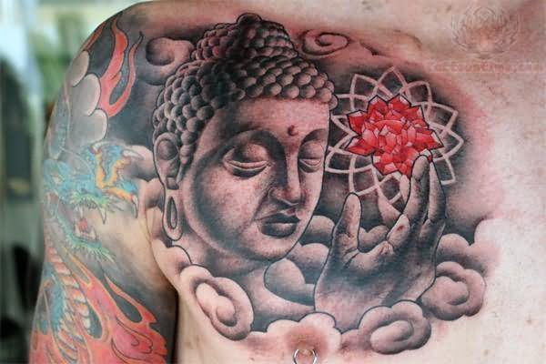 Mahatma Buddh Tattoo On Chest