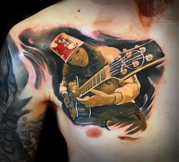 Playing Guitar Music Tattoo On Chest