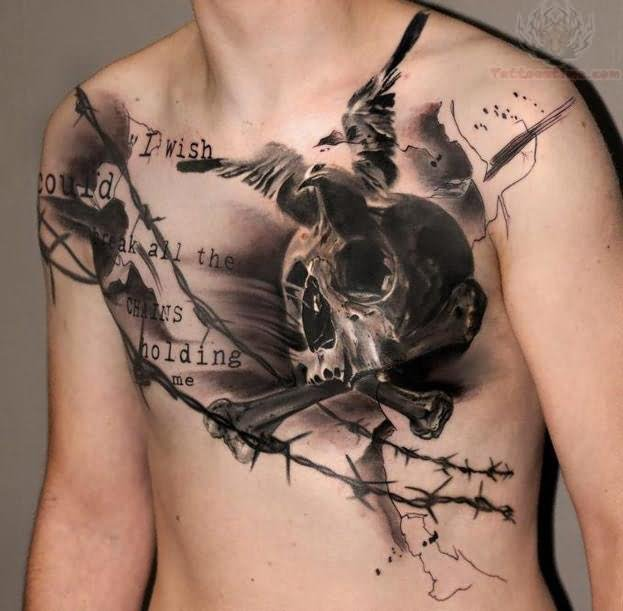 Skull And Crow Tattoo On Chest