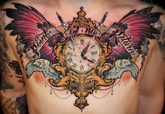Winged Clock Tattoo On Chest