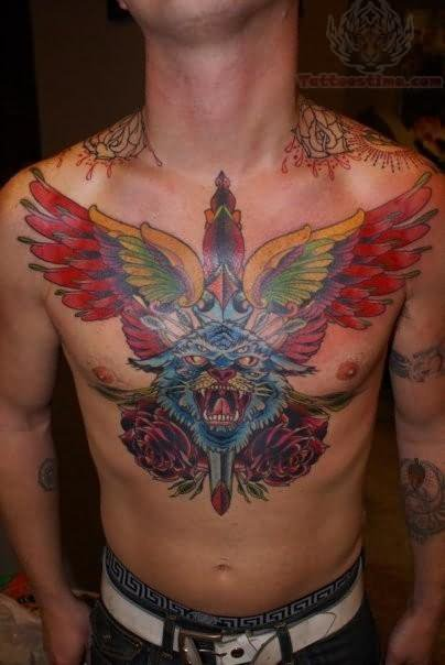 Winged Dagger and Leopard Tattoo On Chest