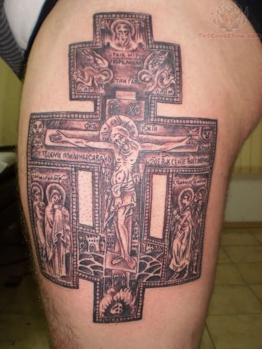 Awesome jesus cross tattoo on thigh for Tattoos of crosses with jesus