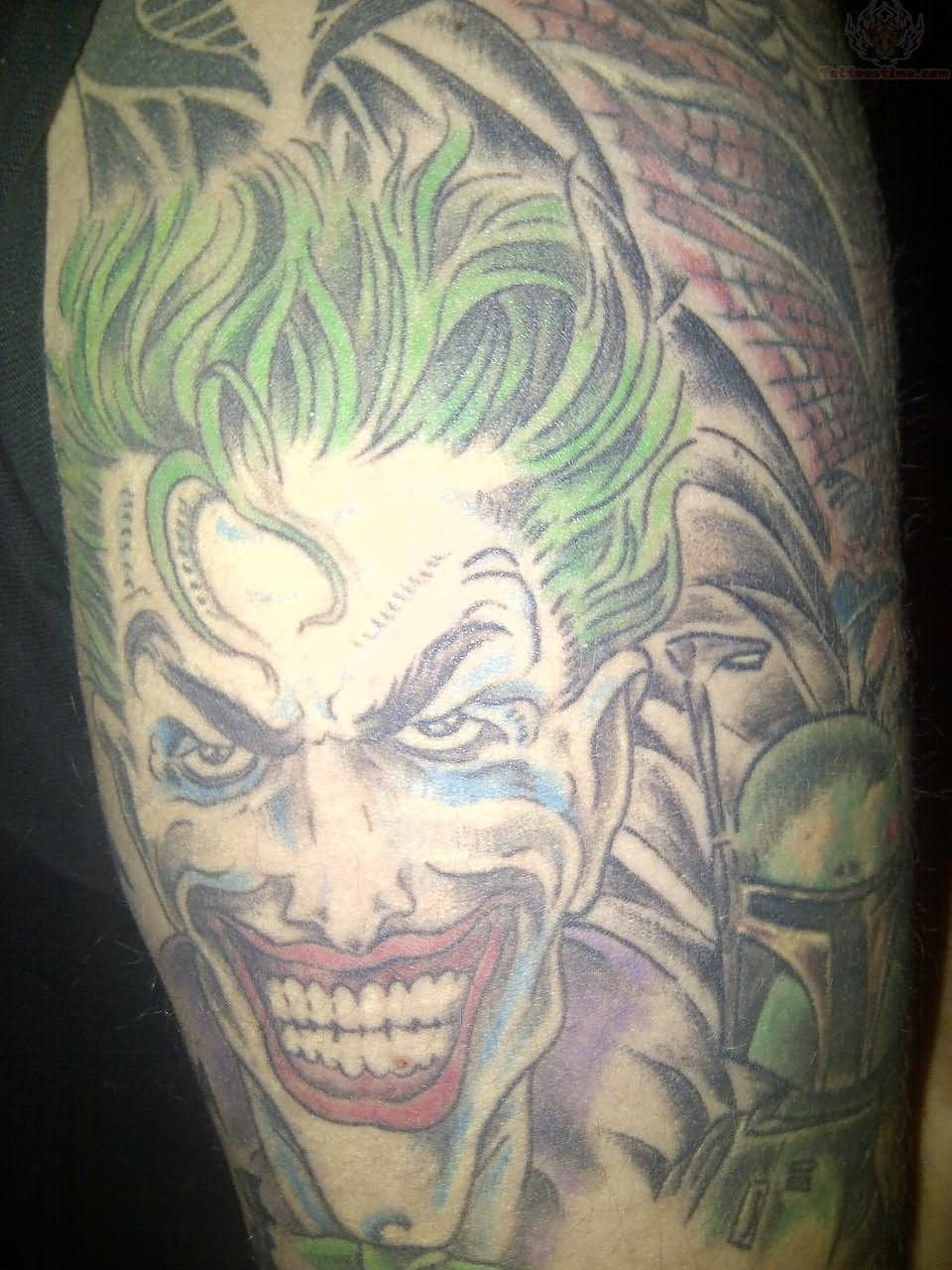 Color Joker Tattoo On Half Sleeve