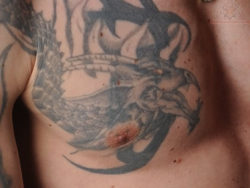 Dragon Tattoo Around Nipple