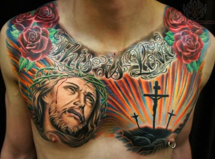 This is love jesus and cross tattoo on chest for Tattoos of crosses with jesus
