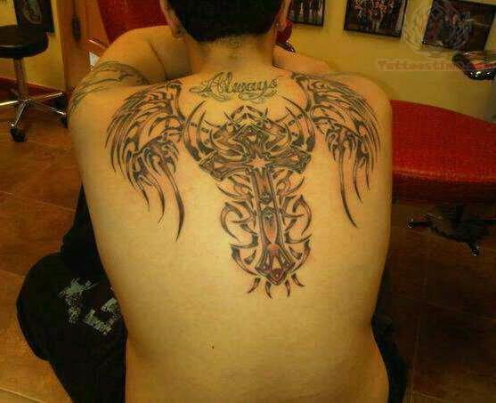 Winged Tribal Cross Tattoo On Back