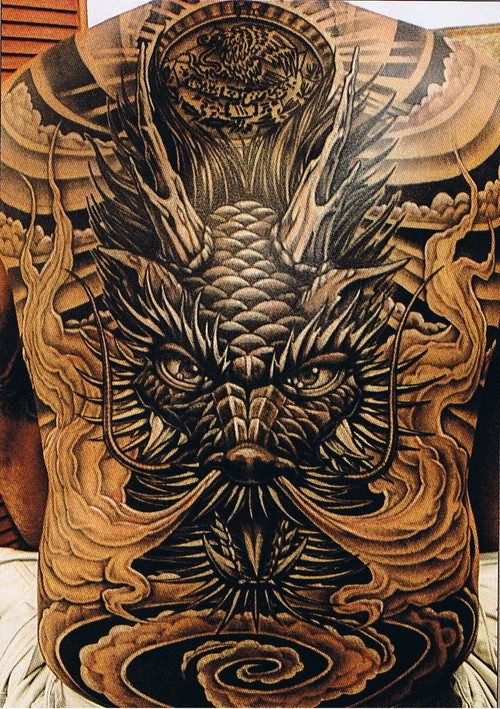 big face dragon tattoo on back. Black Bedroom Furniture Sets. Home Design Ideas