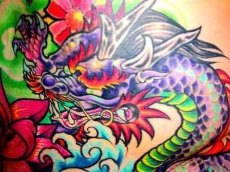 Colorful Dragon Tattoo Design