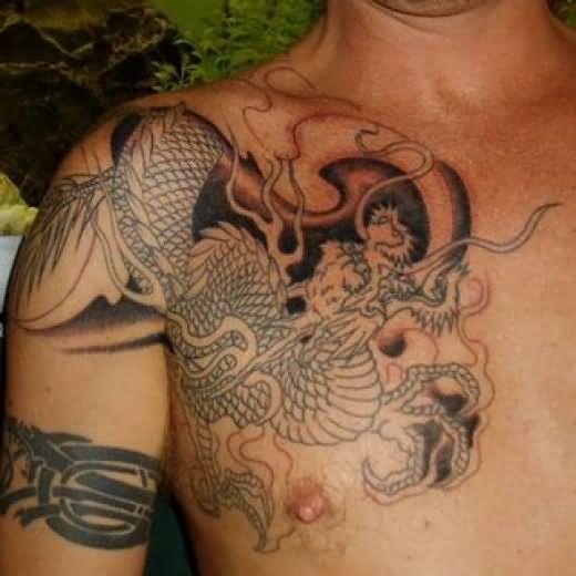dragon tattoo on shoulder and chest. Black Bedroom Furniture Sets. Home Design Ideas